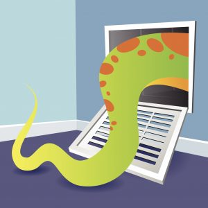 An illustration of a tentacle coming out of an air vent