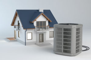 A 1/4 scale model house with a full size air conditioner outside of it