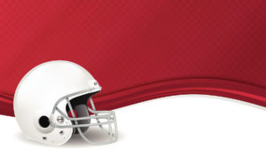 A white football helmet against a red and white background