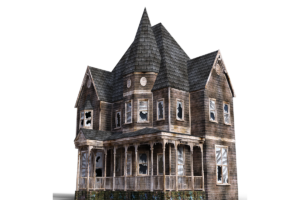 A spooky looking broken-down Victorian house