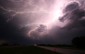 Forking lightning in a cloudy night sky